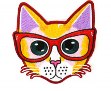 1 Aufnäher - Patch - Flausch - 18cm x 17,5cm - Katze - Brille - Cat - Fancy Friends - Orangebraun