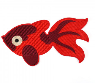 1 Aufnäher - Patch - 28cm x 14,5cm - Goldfisch - Fancy Friends - Rot