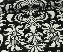 Jacquard - Chenille Deluxe - Ornamente B - Schwarz - Warmweiß