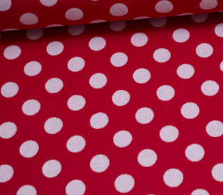 Jacquard Jersey - Simple Dots Big - Rot - Weiß