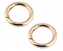 2 runde Ösen - 38mm - Ring - Rundkarabiner - Taschenring - Gold