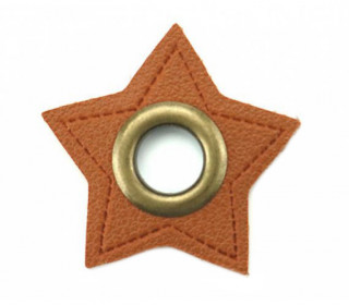Kunstleder Öse - Stern - 8mm - Stars - Patches - Braun/Altmessing