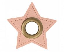 Kunstleder Öse - Stern - 8mm - Stars - Patches - Rosa/Altmessing