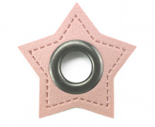 Kunstleder Öse - Stern - 8mm - Stars - Patches - Rosa/Anthrazit