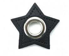 Kunstleder Öse - Stern - 8mm - Stars - Patches - Schwarz/Silber