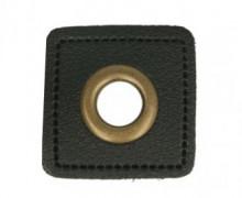 Kunstleder Öse - Quadrat - 8mm - Patches - Schwarz/Altmessing