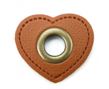Kunstleder Öse - Herz - 8mm - Heart - Patches - Braun/Altmessing
