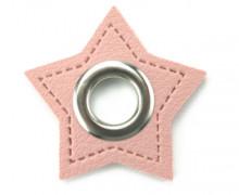 Kunstleder Öse - Stern - 11mm - Stars - Patches - Rosa/Silber