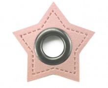 Kunstleder Öse - Stern - 11mm - Stars - Patches - Rosa/Anthrazit