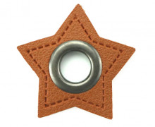 Kunstleder Öse - Stern - 11mm - Stars - Patches - Braun/Anthrazit