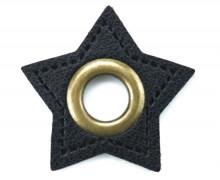 Kunstleder Öse - Stern - 11mm - Stars - Patches - Schwarz/Altmessing