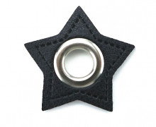 Kunstleder Öse - Stern - 11mm - Stars - Patches - Schwarz/Silber