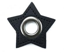 Kunstleder Öse - Stern - 11mm - Stars - Patches - Schwarz/Anthrazit