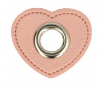 Kunstleder Öse - Herz - 11mm - Heart - Patches - Rosa/Silber
