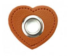 Kunstleder Öse - Herz - 11mm - Heart - Patches - Braun/Silber