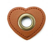 Kunstleder Öse - Herz - 11mm - Heart - Patches - Braun/Altmessing