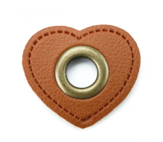 Kunstleder Öse - Herz - 11mm - Heart - Patches - Braun/Altmessing