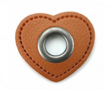 Kunstleder Öse - Herz - 11mm - Heart - Patches - Braun/Anthrazit