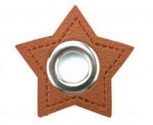 Kunstleder Öse - Stern - 11mm - Stars - Patches - Braun/Silber