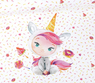 Jersey - Paneel - Lucy the little Unicorn - Weiß - Bio-Qualität - abby and me