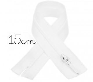 1x15cm Polyesterreißverschluss - Hosenverschluss - Nicht Teilbar - Hochwertig - Opti - Weiß (0009)