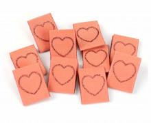 10 Label - Herz - Apricot - Glitzer