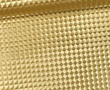 Kunstleder mit Struktur - Merlin - Nieten Optik - 3D - Glänzend - Gold