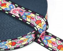 1m Gurtband - Deco - Paisley - 35mm - Rosa/Aubergine