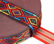 1m Gurtband - Deco - Quadrate - Indian - 35mm - Rot/Orange