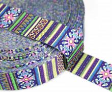 1m Gurtband - Deco - Ornamente - Streifen - 35mm - Rosa/Blau