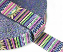 1m Gurtband - Deco - Sonne - Streifen - 35mm - Rosa/Lila