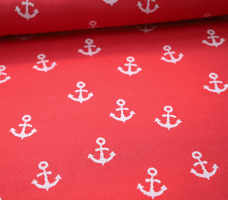 Jacquard Jersey - AnkerLiebe - Anker - rot/weiss