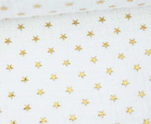 Musselin - Muslin - Double Gauze - 3D - Sterne - Glänzend - Weiß/Gold