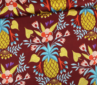 Baumwoll Satin - Ananas - At the Beach - Rotbraun - Hamburger Liebe