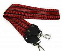 Taschengurt mit Karabinern - Kunstleder - nicht Verstellbar - Hochwertig - 50mm - gestrichelt - Rot/Schwarz
