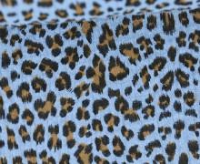 Musselin - Muslin - Double Gauze - Leo Print - Hellblau