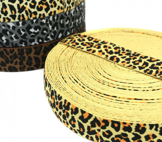 1m Gummiband - elastisch - Leopard - 40mm - Wildlife - Gelb/Orange
