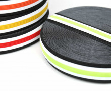 1 Meter Gummiband - 30mm - Five Stripes - Schwarz/Hellgrün