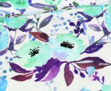 Jersey - Bio Qualität - Aquarell Blüten - pastell - Mintblau/Weiß - abby and me