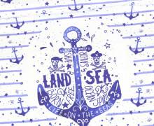 Jersey - Bio Qualität - Paneel - Tales of a Sailor - Anker - Streifen - Blau/Weiß - abby and me