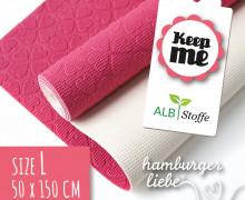 Keep Me's - Antirutschmatte - Größe L - 50x150cm - Hamburger Liebe - Pink/Weiß