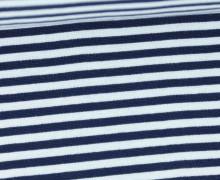Glattes Bündchen - Streifen - 5mm - Schlauchware - Big Color Stripes - Dunkelblau/Weiß