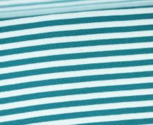Glattes Bündchen - Streifen - 5mm - Schlauchware - Big Color Stripes - Petrol/Weiß