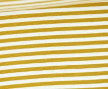 Glattes Bündchen - Streifen - 5mm - Schlauchware - Big Color Stripes - Senfgelb/Weiß