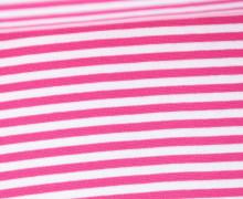 Glattes Bündchen - Streifen - 5mm - Schlauchware - Big Color Stripes - Pink/Weiß