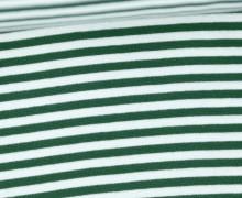 Glattes Bündchen - Streifen - 5mm - Schlauchware - Big Color Stripes - Tannengrün/Weiß