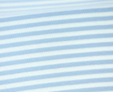 Glattes Bündchen - Streifen - 5mm - Schlauchware - Big Color Stripes - Hellblau/Weiß