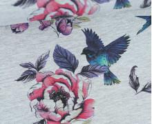 Sommersweat - Spread your Wings - Blumen - Vögel - Grau meliert - abby and me