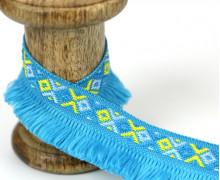 1 Meter Fransenband - Schlaufen - Ibiza - Ethno-Style - Cyanblau