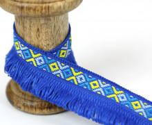 1 Meter Fransenband - Schlaufen - Ibiza - Ethno-Style - Blau